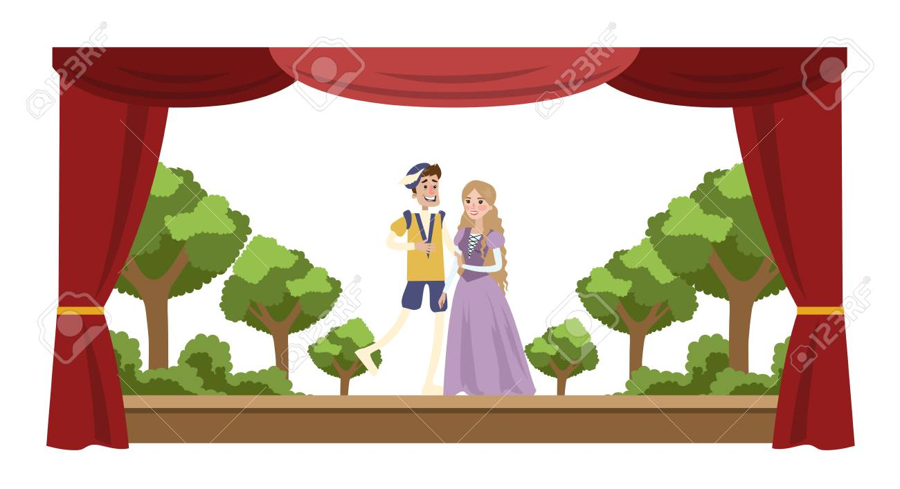 Theater perfomance show. Two actors in costumes in front of audience. Red curtains and decorations on the background. Vector flat illustration - 104839956