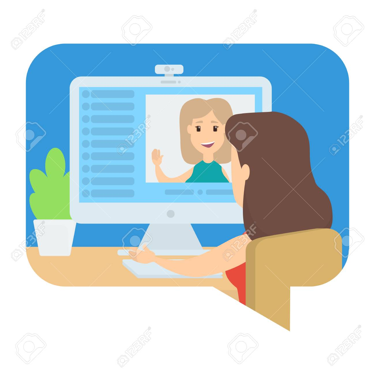 Video chat between two young girls. Communication via internet. Online conversation. Isolated vector illustration - 114893631