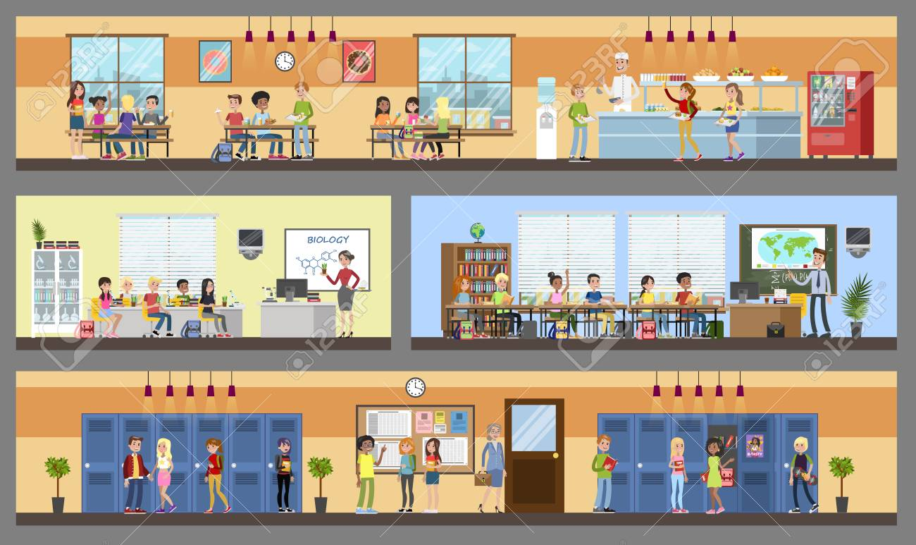 School building interior and exterior. Classrooms, dining room and hall. Getting education and knowledge. Vector flat illustration - 114858594