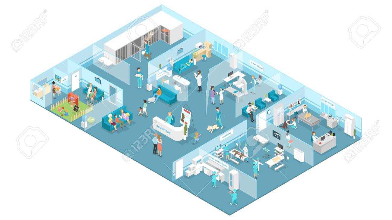 Veterinary clinic interior with reception, waiting hall, examination and operating rooms. Animal treatment. Doctors and sick pets. Isolated isometric vector illustration - 114697168