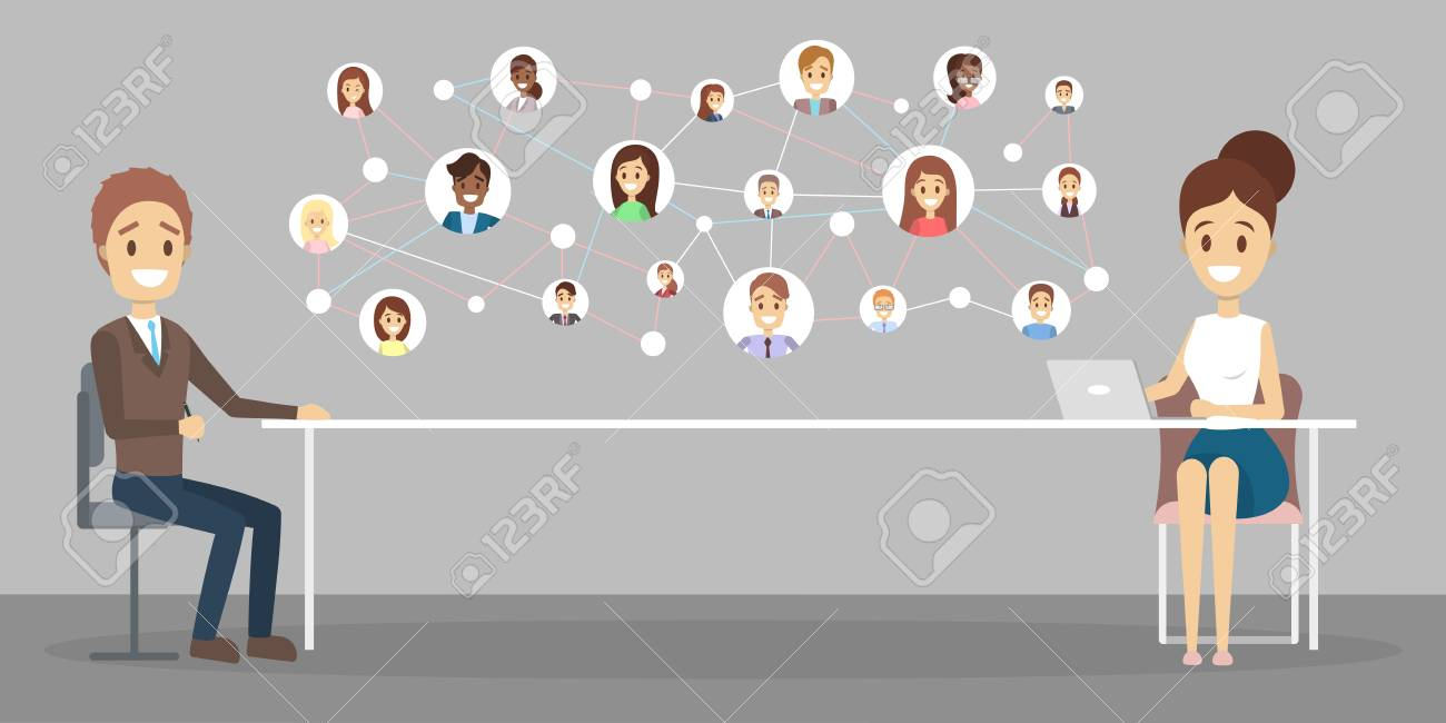 Online job interview. Human resources manager looking for a job candidate in the internet. Recruitment concept. Flat vector illustration - 112234880