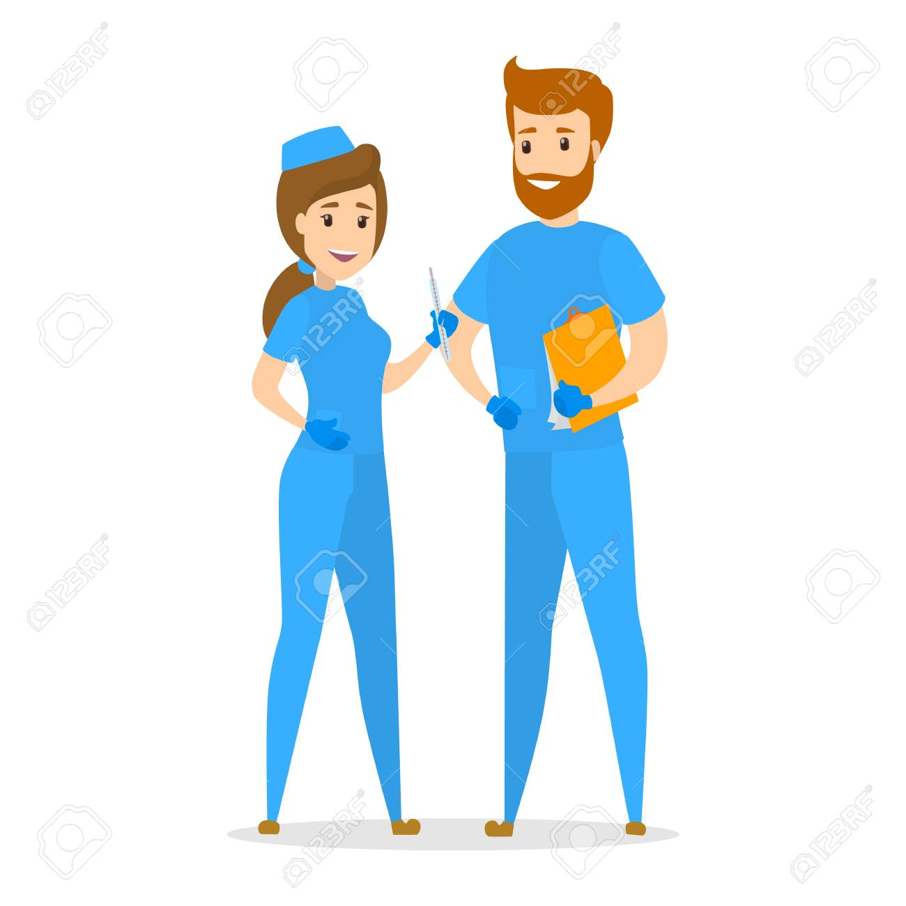 Nurse couple standing in blue uniform. Smiling medicine workers. Isolated flat vector illustration - 105843699