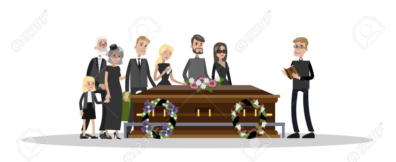 Funeral ceremony on the cemetery. Sad people in black clothes standing with flowers and wreaths around coffin. Isolated vector flat illustration - 112014469