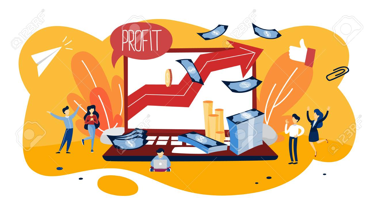 Profit concept illustration. Idea of growth and improvement. Sales increase and money making. Financial success. Flat vector illustration - 111631256