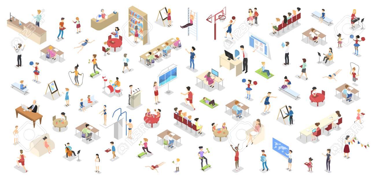 Children study in the school set isometric - 107556994