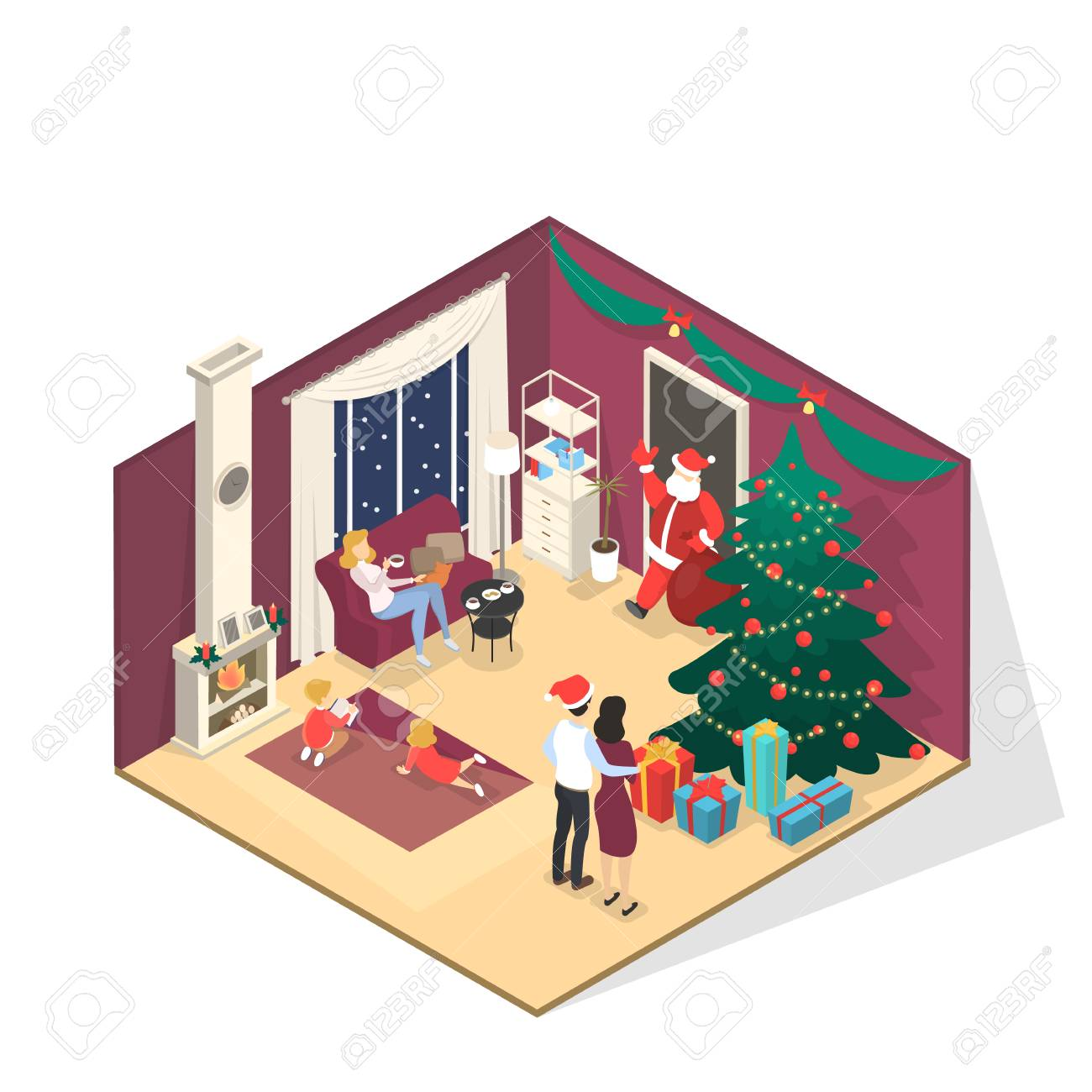 happy family standing in room and greeting santa claus with bag