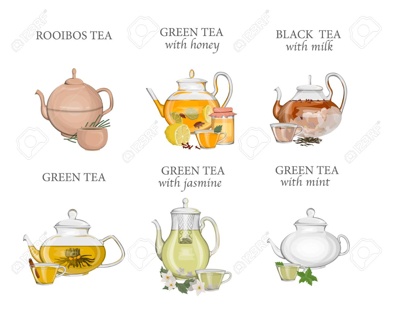 Tea types set. Kettle or teapot with hot drink and ceramic or glass cup. Green and black tea. Isolated vector illustration - 110266257