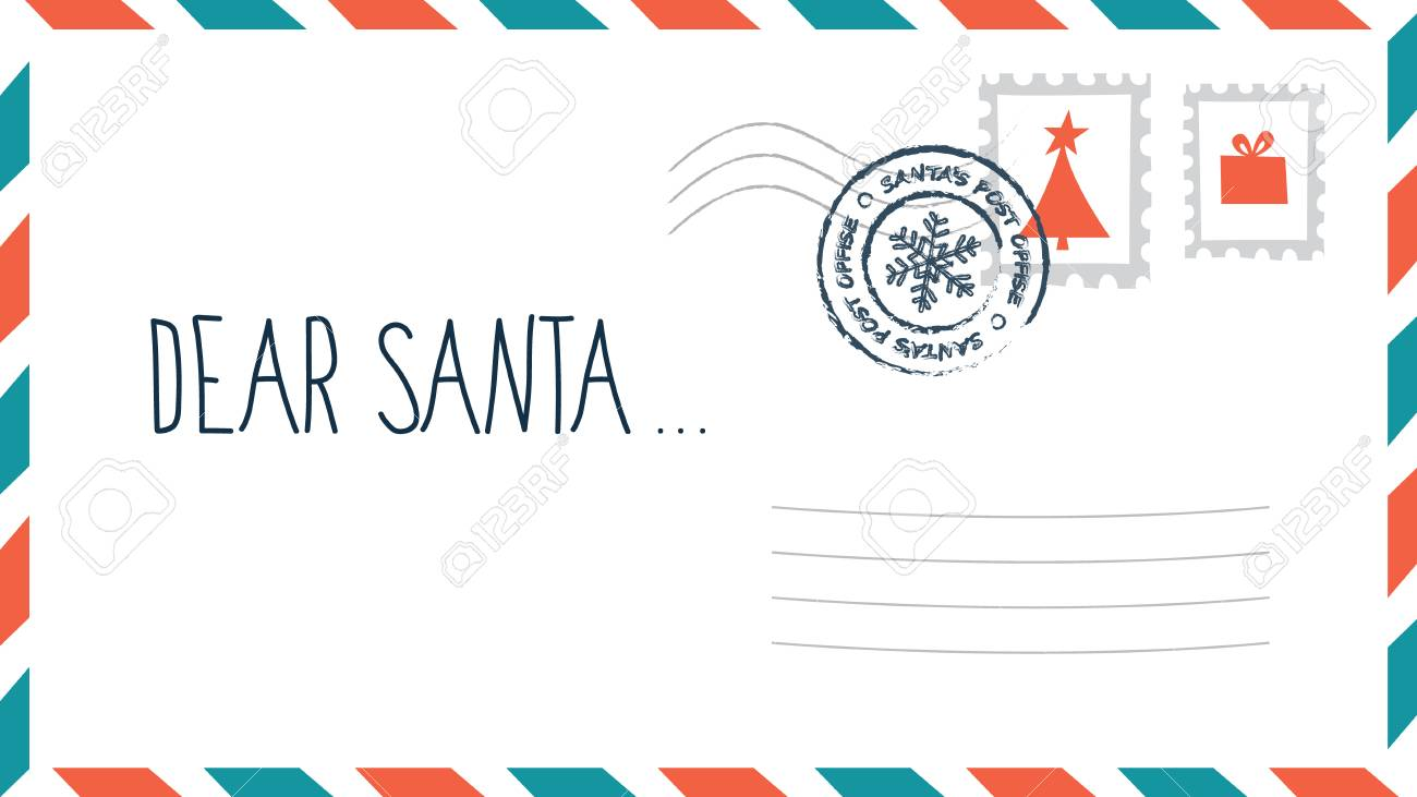 Dear Santa Christmas Letter In Envelope With Stamp. Holiday Child.. Royalty  Free Cliparts, Vectors, And Stock Illustration. Image 110044039.