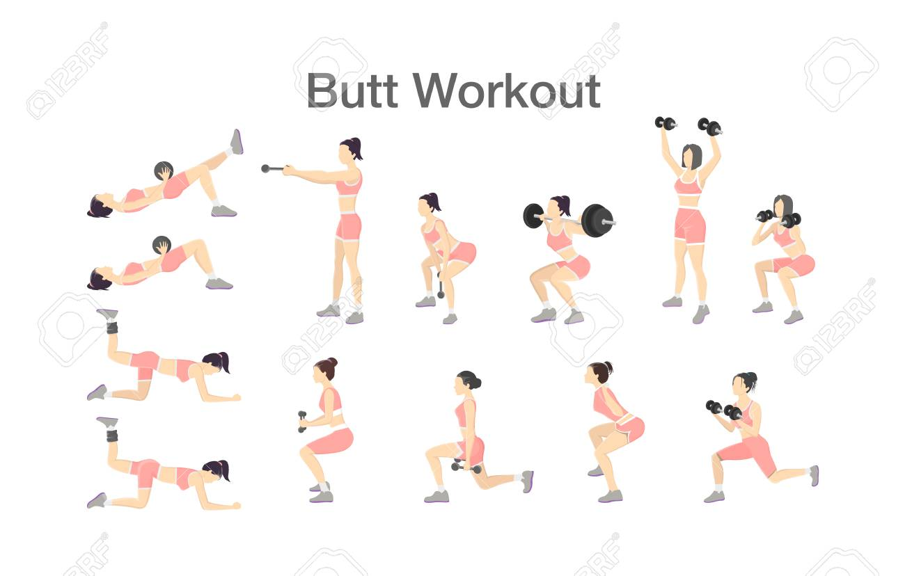 Butt workout set for women with dumbbell and barbell - 108355592