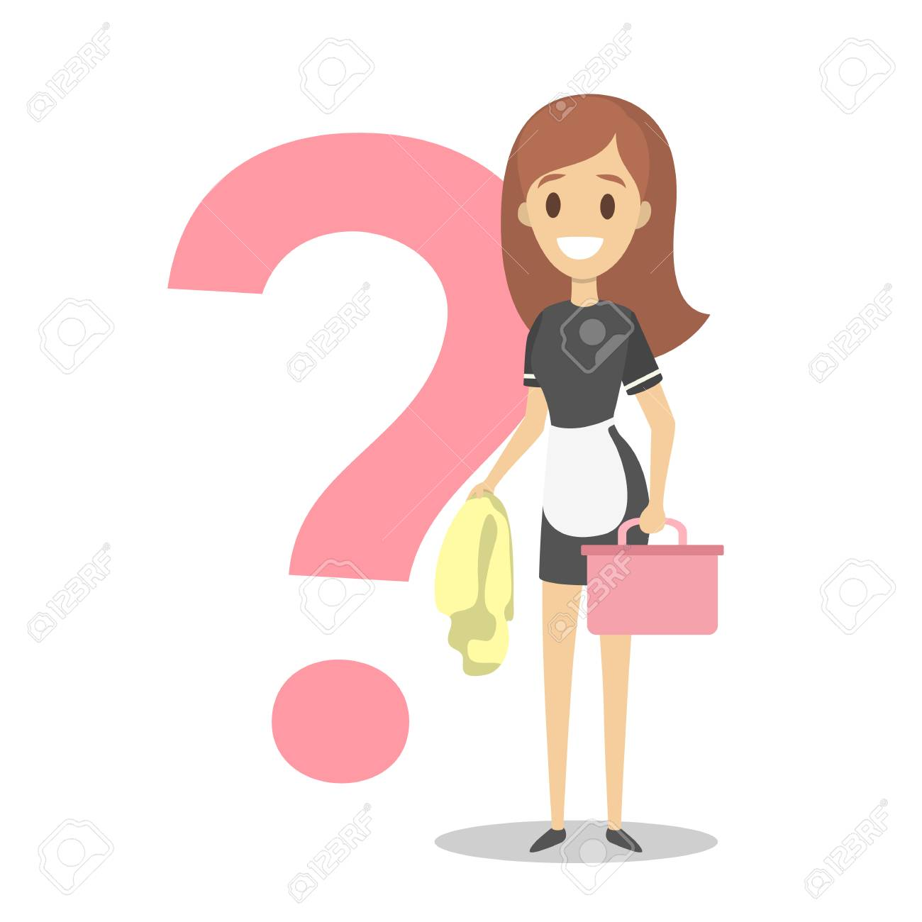 Female cleaner or hotel maid with cleaning equipment. Ask service worker. Big question mark behind pretty girl in uniform. Isolated flat vector illustration - 109808244