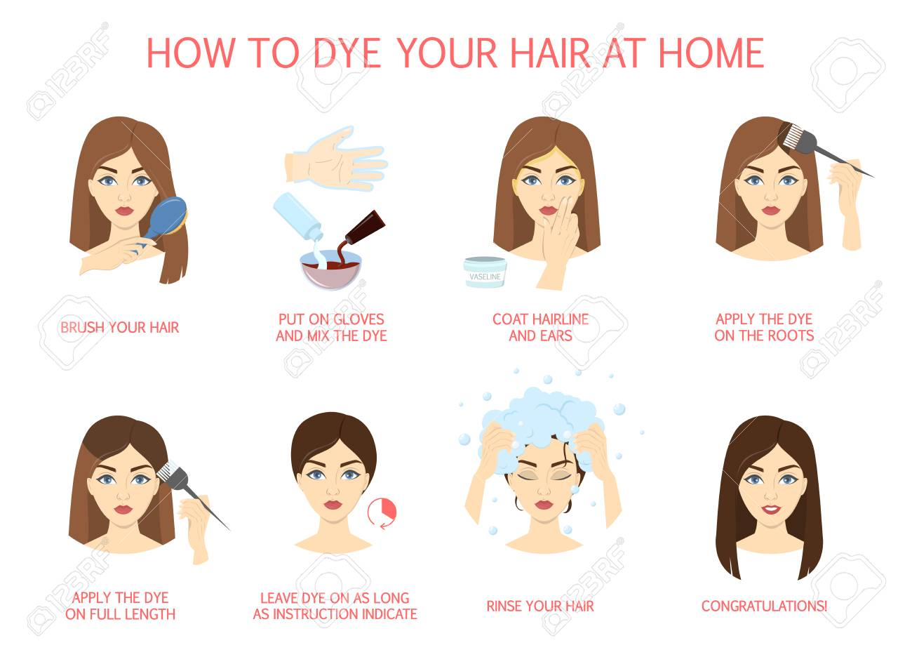 How to dye your hair at home guide. Step-by-step instruction..