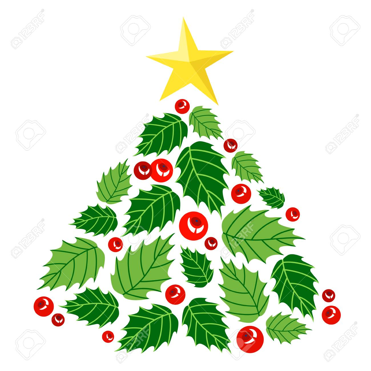 Cute Christmas Tree Made Of Holly Berry Leaves And Berries Beautiful