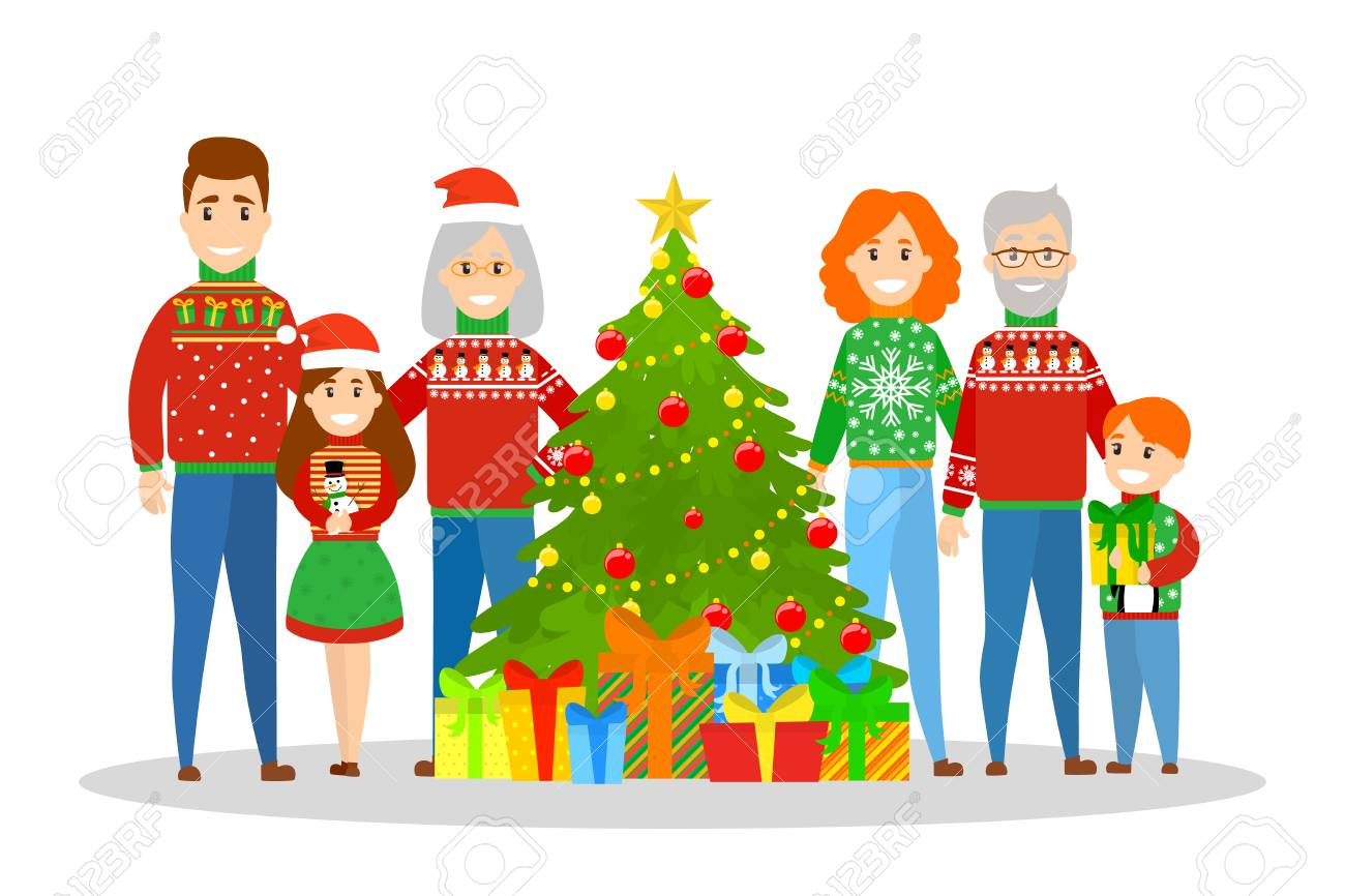 Christmas Party Images Cartoon.Big Family In Sweater Standing At The Christmas Tree Traditional