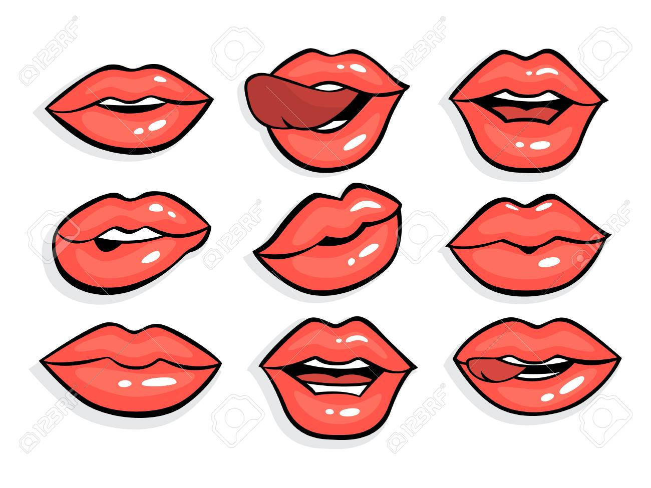 Set Of Sexy Red Pop Art Lips Royalty Free Cliparts Vectors And Stock Illustration Image 108971563