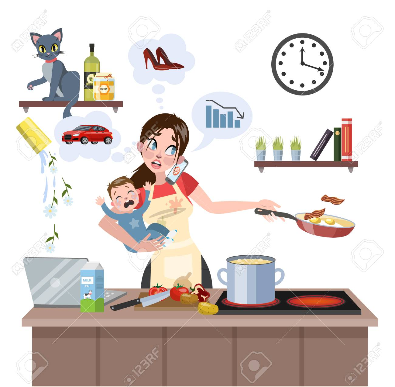 Busy multitasking mother with baby failed at doing many thing at once. Tired woman in stress with messy around. Housewife lifestyle. Isolated flat vector illustration - 109627618