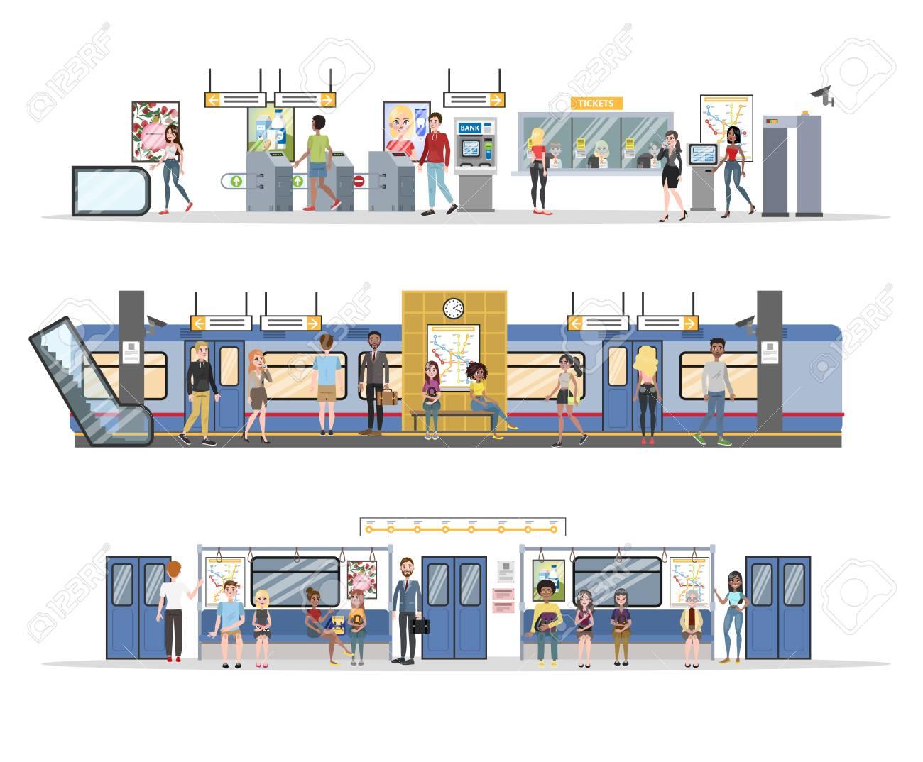 Subway interior with train and railway set - 108971600