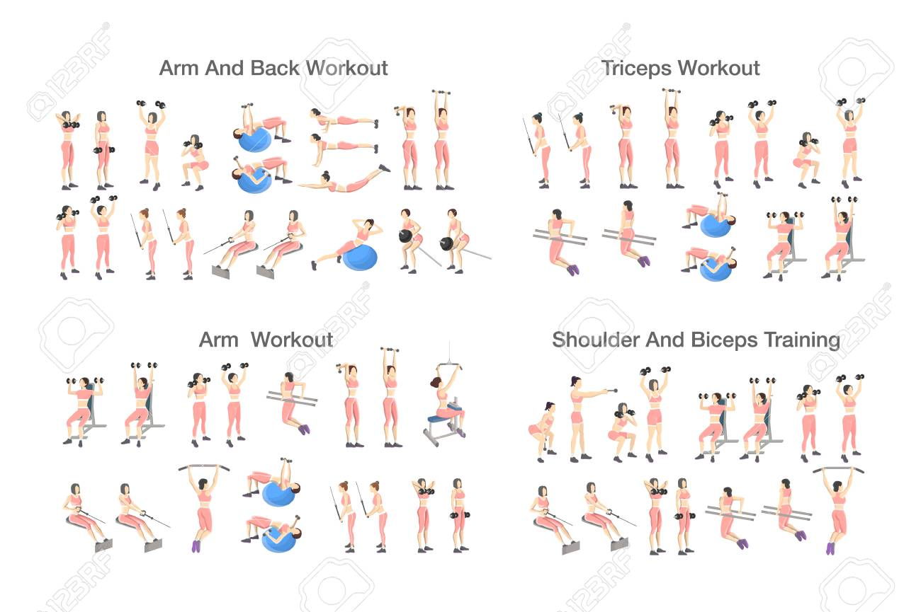 Big Set Of People Doing Exercises In The Gym Workout With