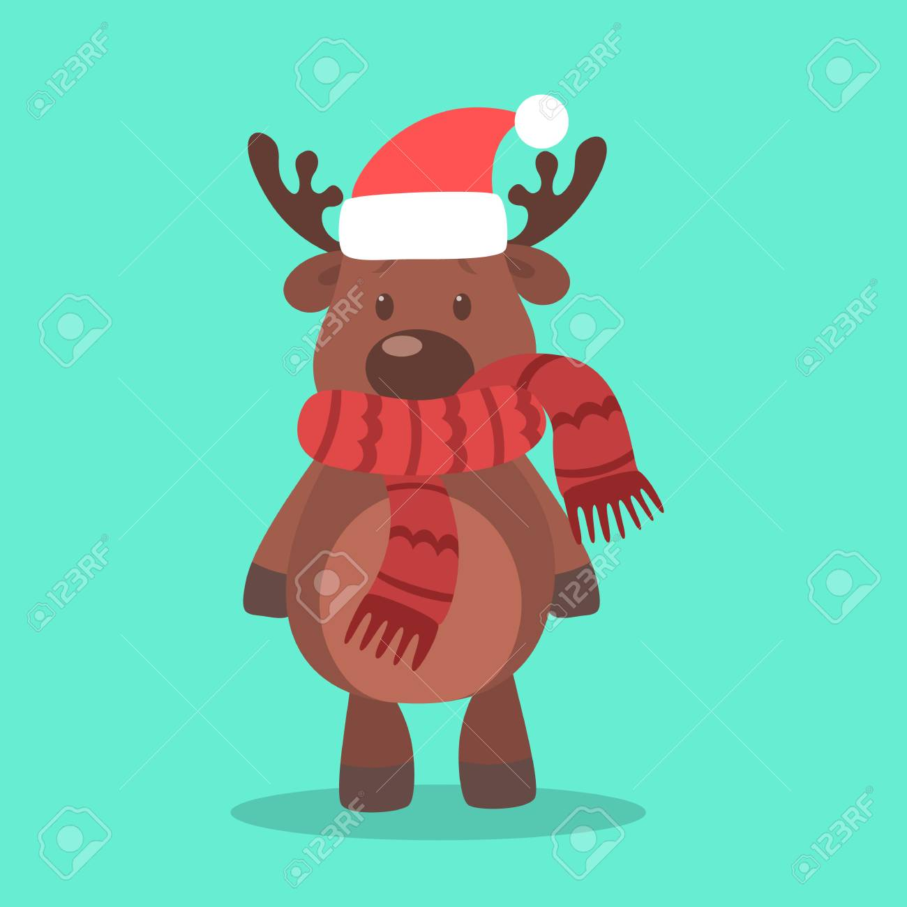 b9dd3cba6cde0 Cute christmas brown reindeer. Animal with red scarf and Santa hat. Winter  holiday celebration