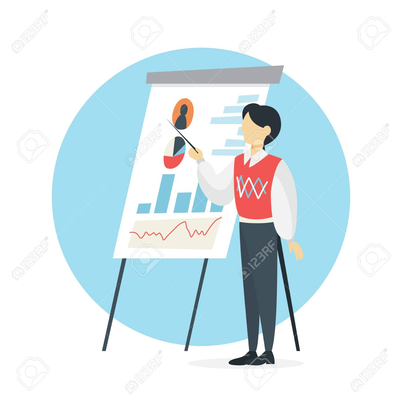 Businessman make presentation with graph and chart  Office meeting