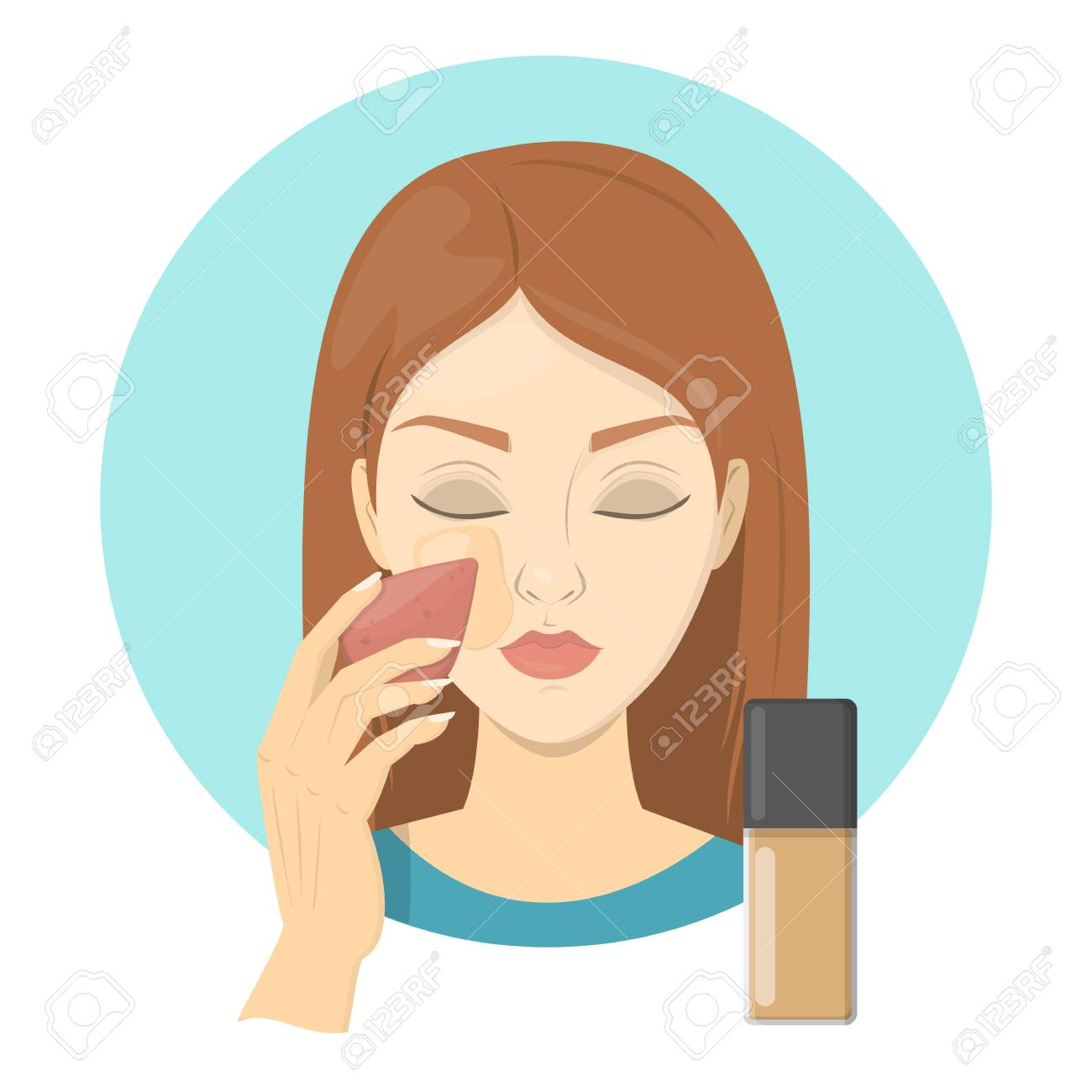 Woman Applying Face Foundation For Perfect Makeup Beautiful Royalty Free Cliparts Vectors And Stock Illustration Image 127688502