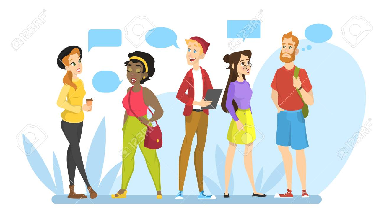 People talk to each other in a group. Idea of communication and conversation. Message in a speech bubble. Chatting with friend. Isolated vector illustration in cartoon style - 112048364