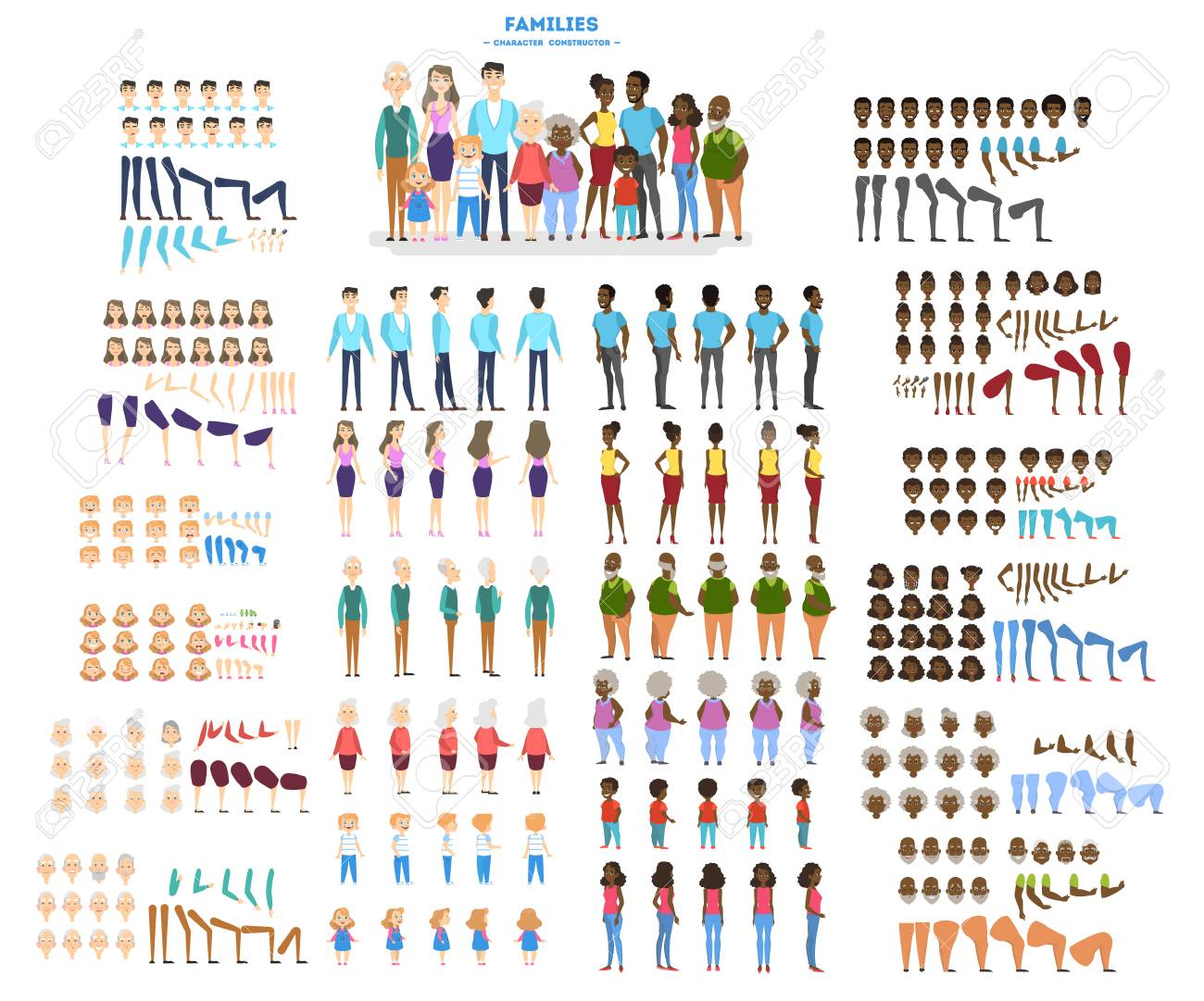 Big family character set for the animation with various views, hairstyle, emotion, pose and gesture. African american mother, father and children. Isolated vector illustration in cartoon style - 127248887