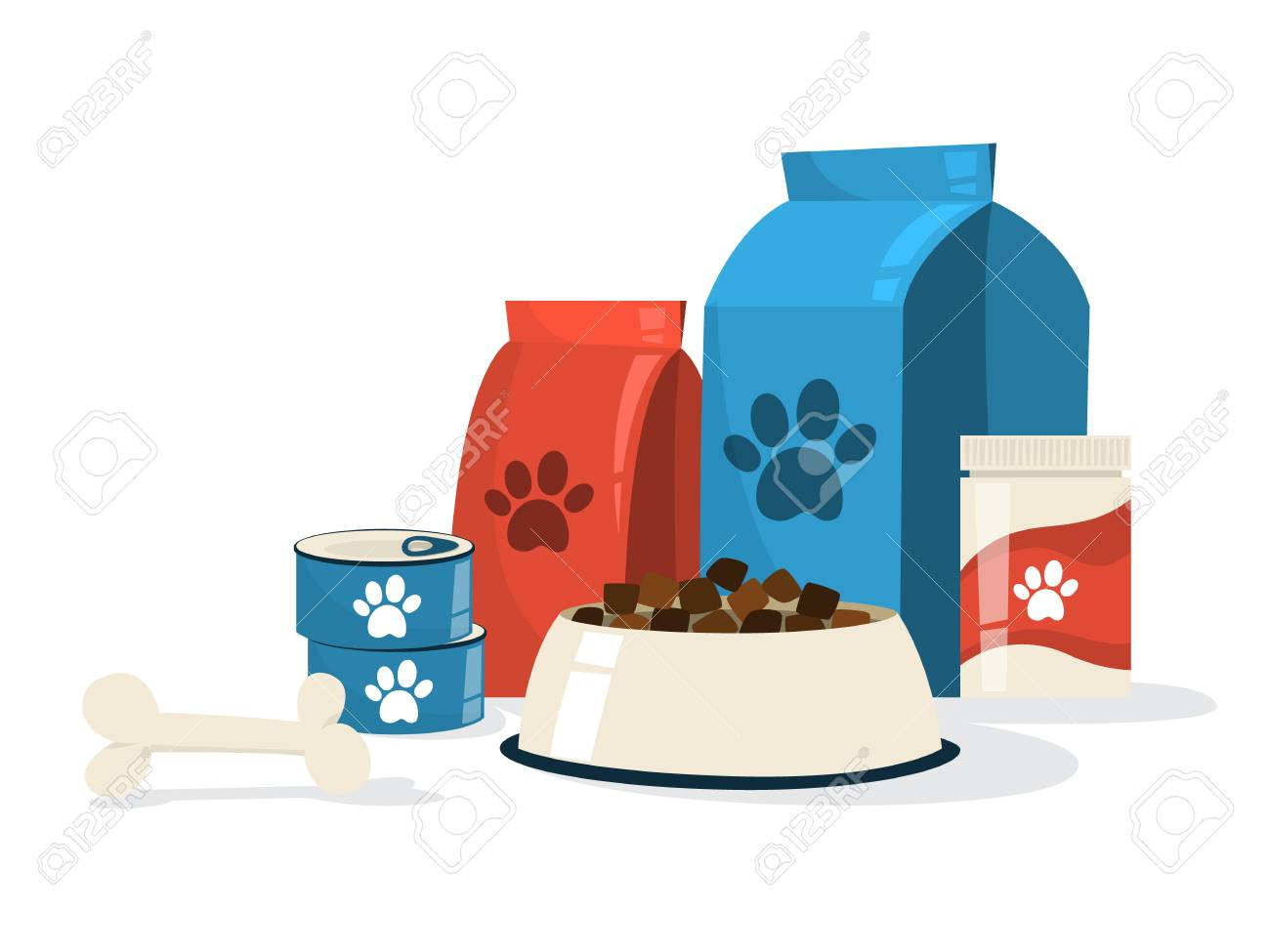 Food for pet. Dog bowl and package with paw sign on it. Meal for domestic animal. Isolated flat vector illustration - 126434562