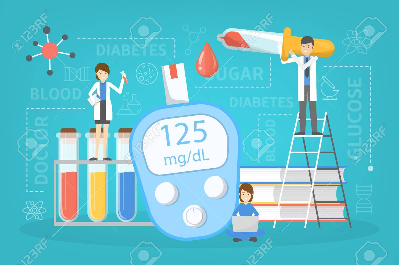 Diabetes concept. Measuring sugar in blood with glucometer. World diabetic awareness day. Idea of healthcare and treatment. Isolated flat vector illustration - 126263301