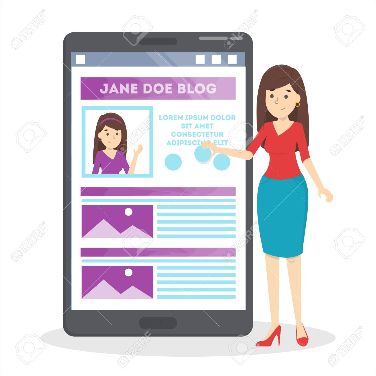 Woman Edit Profile In Social Network Web Page Design On Mobile