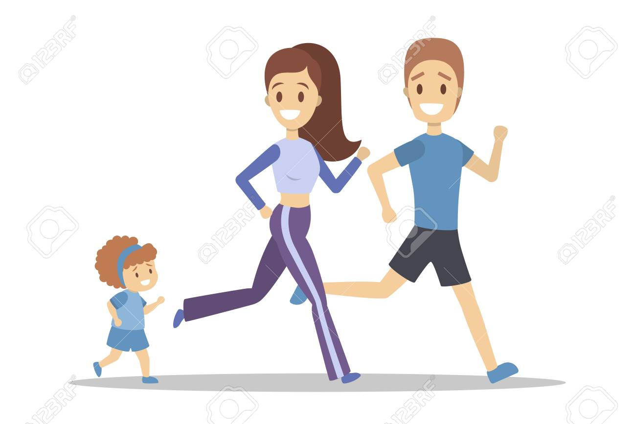 Family jogging  Healthy and active family lifestyle  Mother,