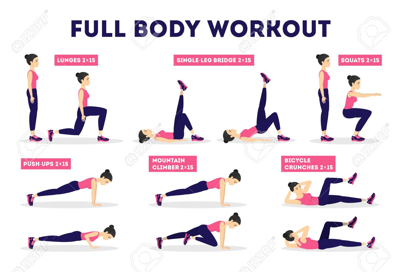 Full body workout set. Exercise for woman. Weight loss and slim..