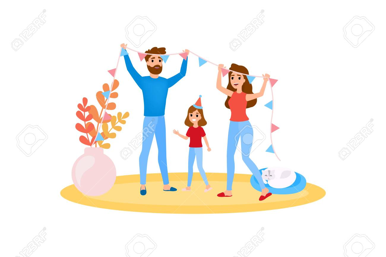 Family decorate home together. Happy girl have fun. Mother and father spend time with child. Isolated vector illustration in cartoon style. - 124305480