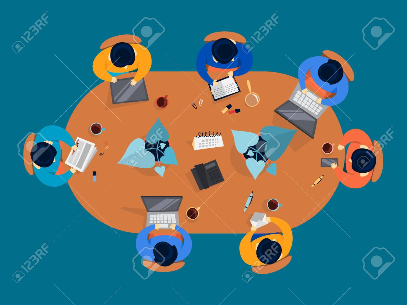 Group of people on a conference. Workers sitting around the table on the meeting. Office conference room. Teamwork top view. Vector illustration in cartoon style - 124129814