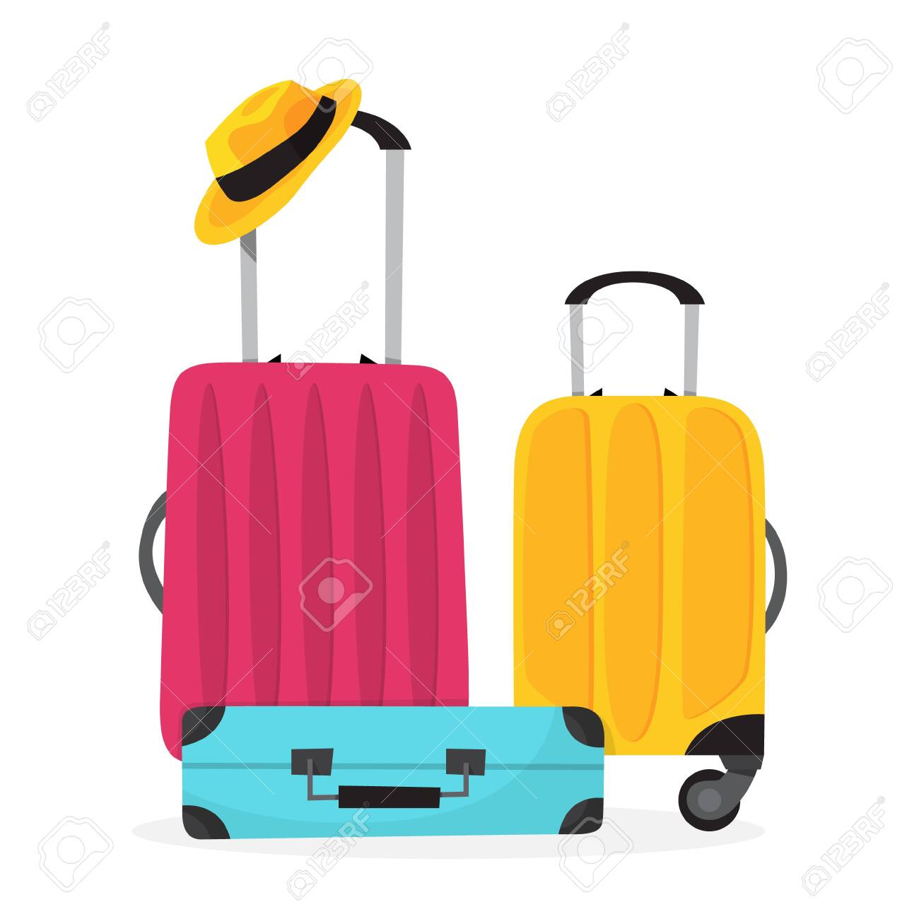 Baggage for travel. Big suitcase for a journey and adventure. Isolated vector illustration in cartoon style - 124129893