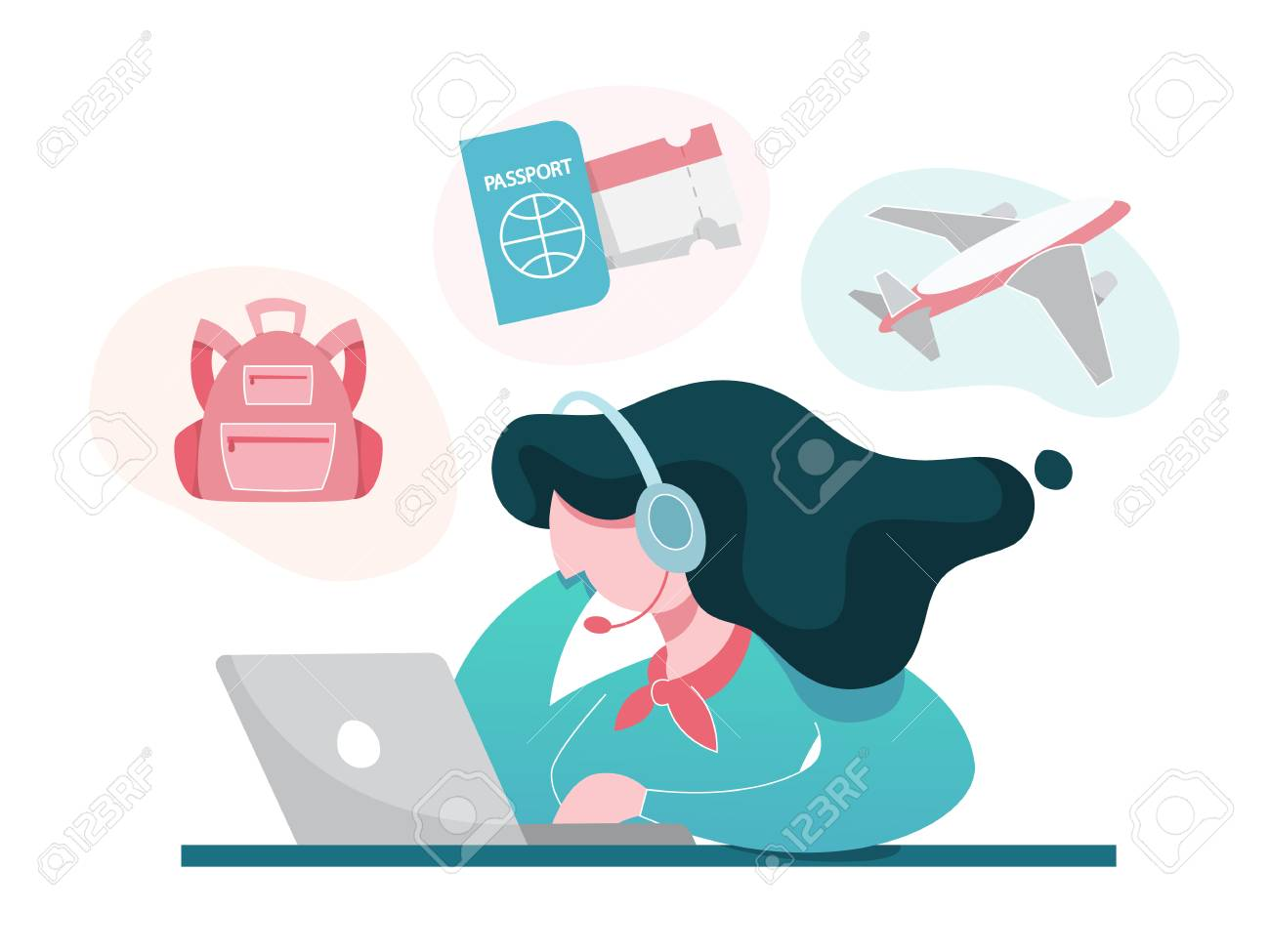 Travel agency concept  Female operator searching for best trip