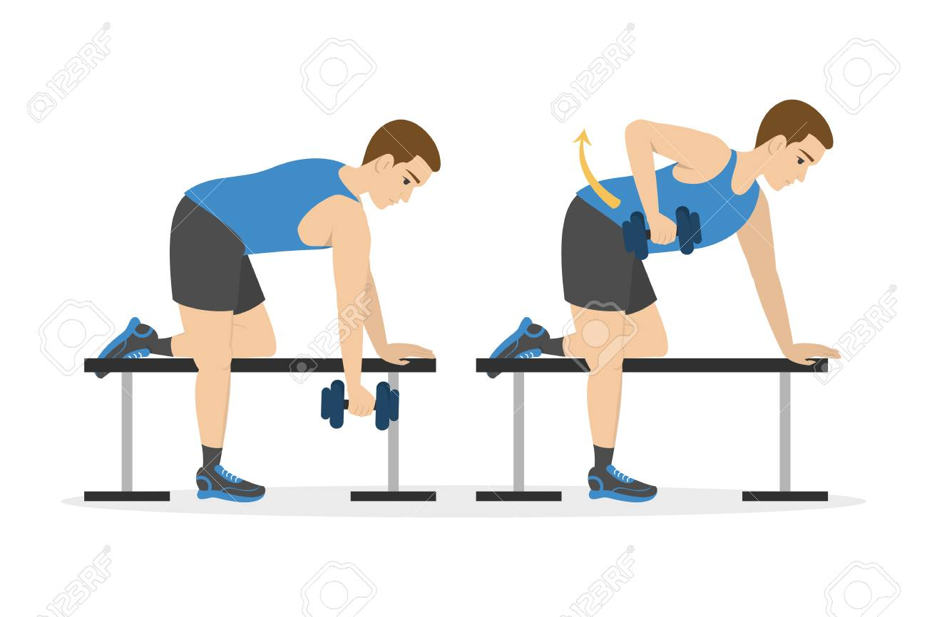 Man doing arm workout. Idea of healthy and active lifestyle. Sport and muscle building. Isolated vector illustration in cartoon style - 121120461