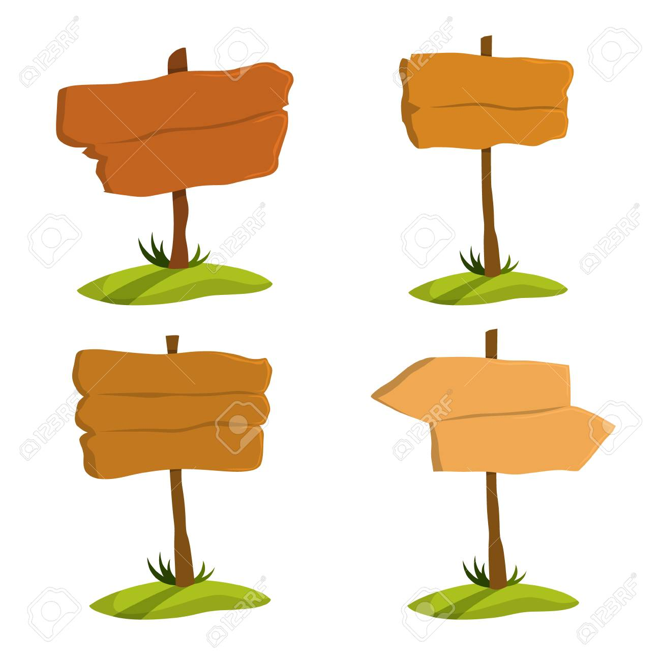 Wooden signboard set. Collection of various sign made of wood. Blank billboard, empty space for message. Isolated flat vector illustration - 122950410