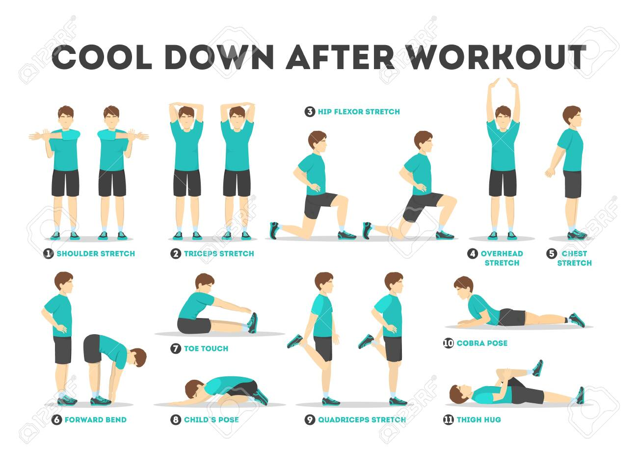 Cool down after workout exercise set. Collection - 128540814