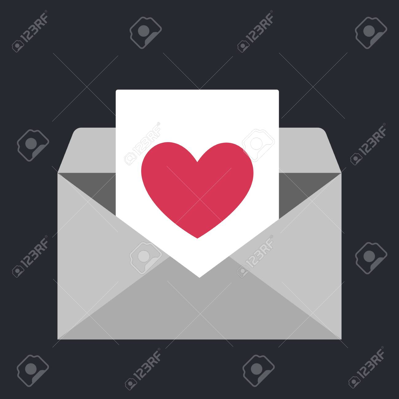Enveope icon with heart symbol. Idea of love message and valentine day. Romantic email. Isolated vector illustration in flat style - 131565466