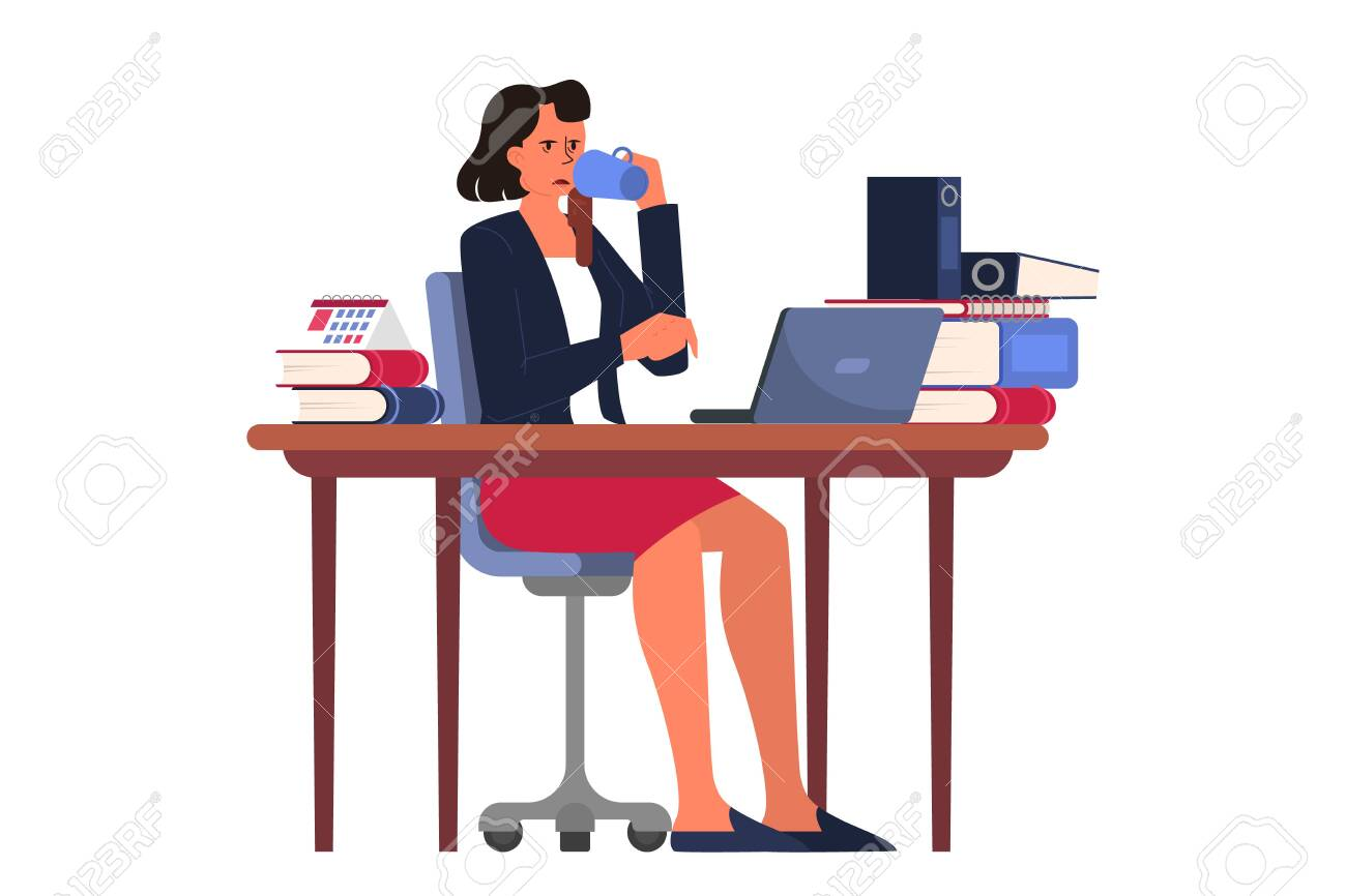 Exhausted businesswoman drinking coffee in the office. Deadline concept. Idea of many work and few time. Business problems. Isolated vector illustration in cartoon style - 136113972