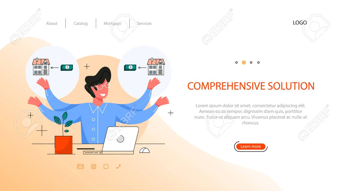 Real Estate Advantage Web Banner Idea Of Comprehensive Solution Royalty Free Cliparts Vectors And Stock Illustration Image 141283714