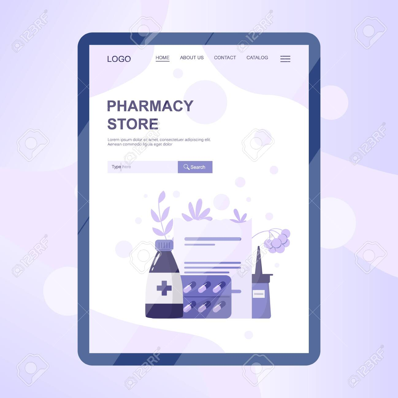 Online Pharmacy Web Banner On Tablet Screen Medicine And Healthcare Royalty Free Cliparts Vectors And Stock Illustration Image 143430799