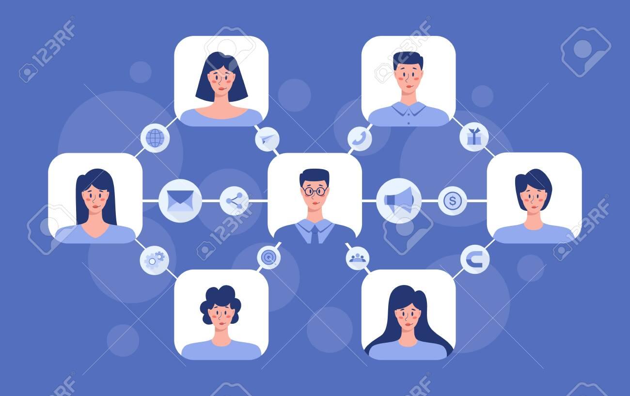 Referral program concept. Business network in referral marketing and business partnership, referral program strategy and development. Vector illustration - 143430999