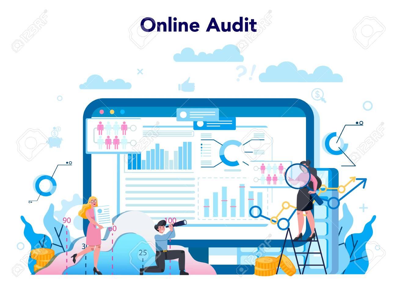 Audit online service or platform. Online business operation - 147213909