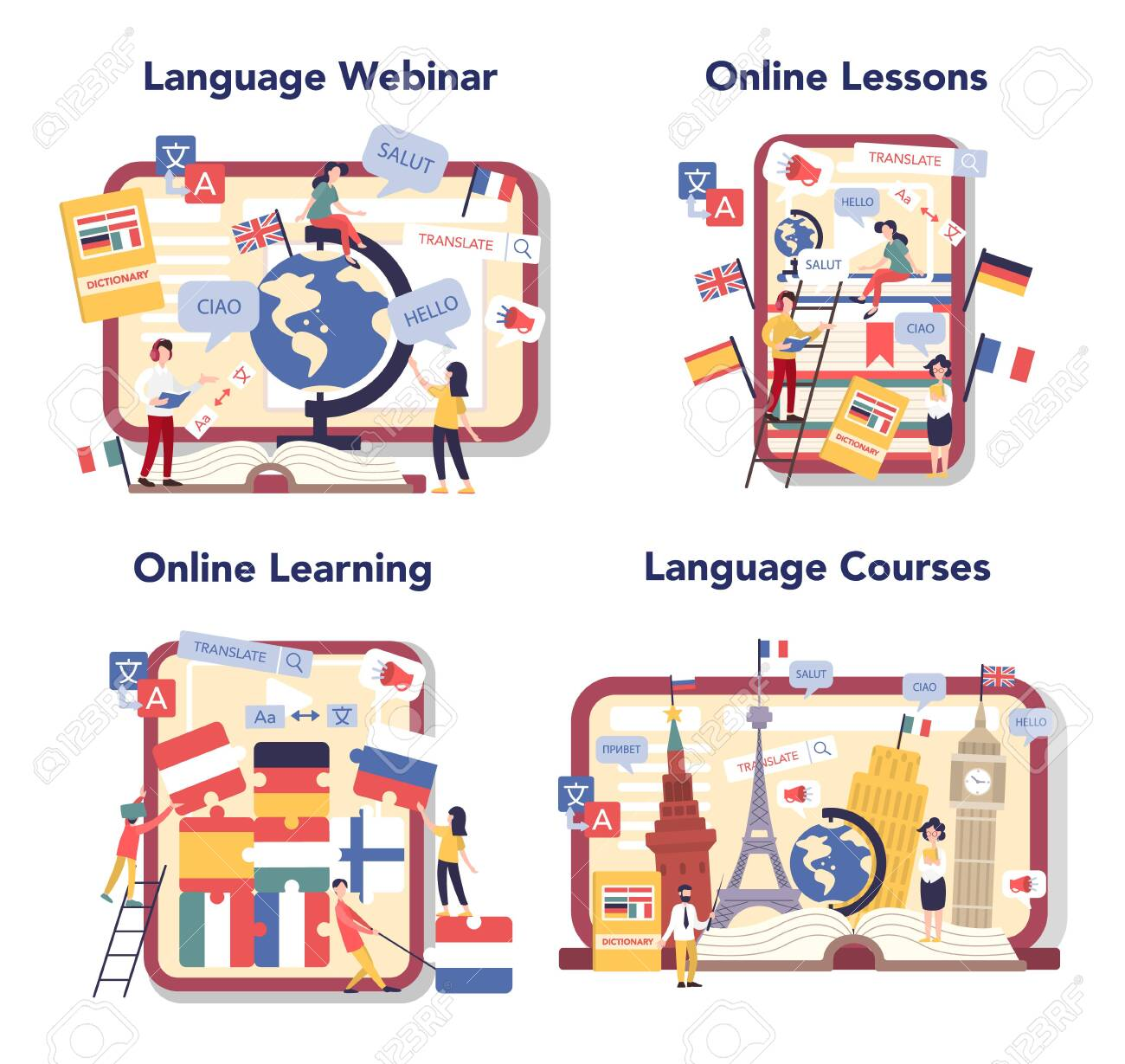 Language learning online service or platform set. Study foreign - 147809978