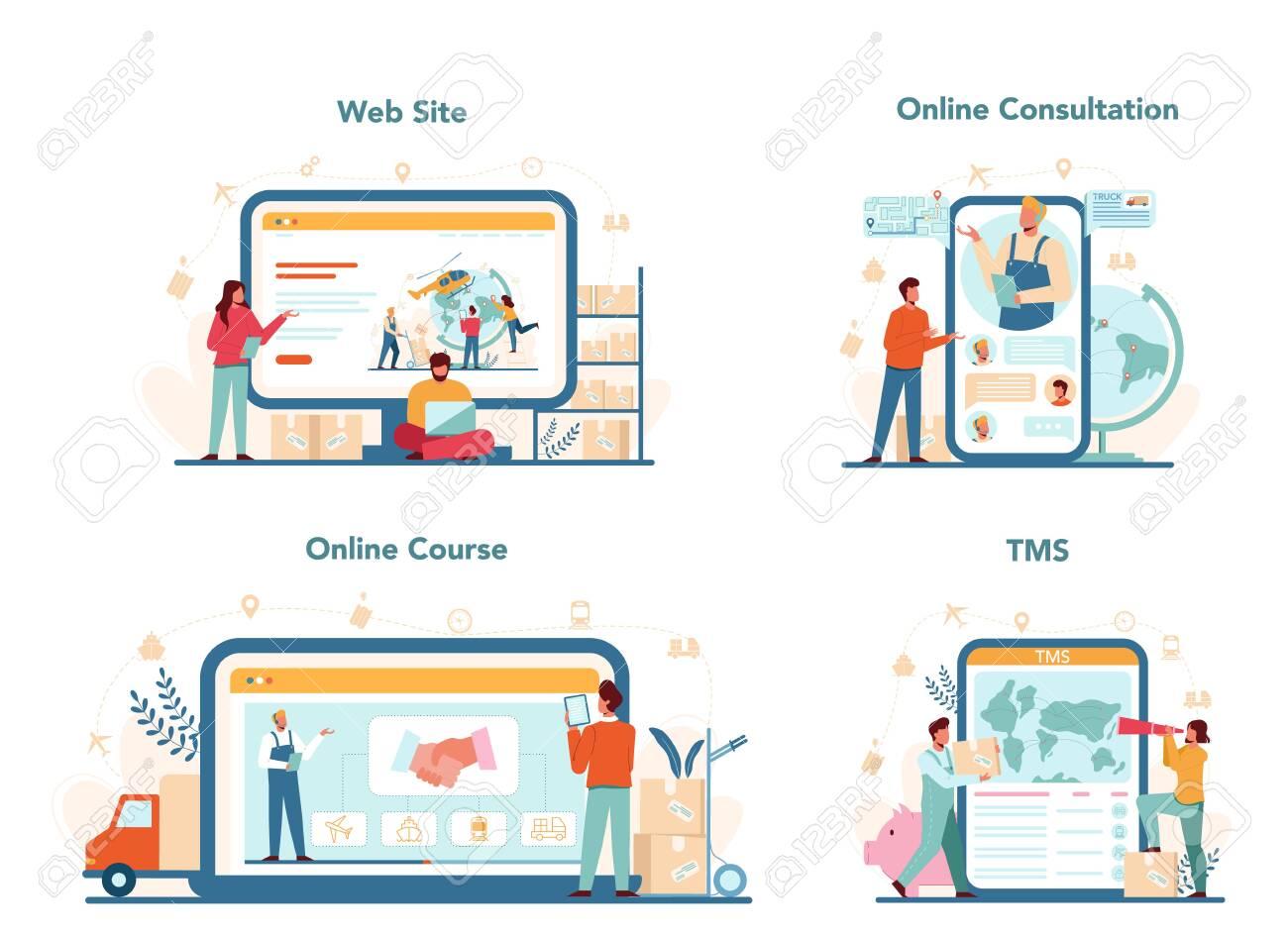 Logistic and delivery service online service or platform set. Idea - 152687124