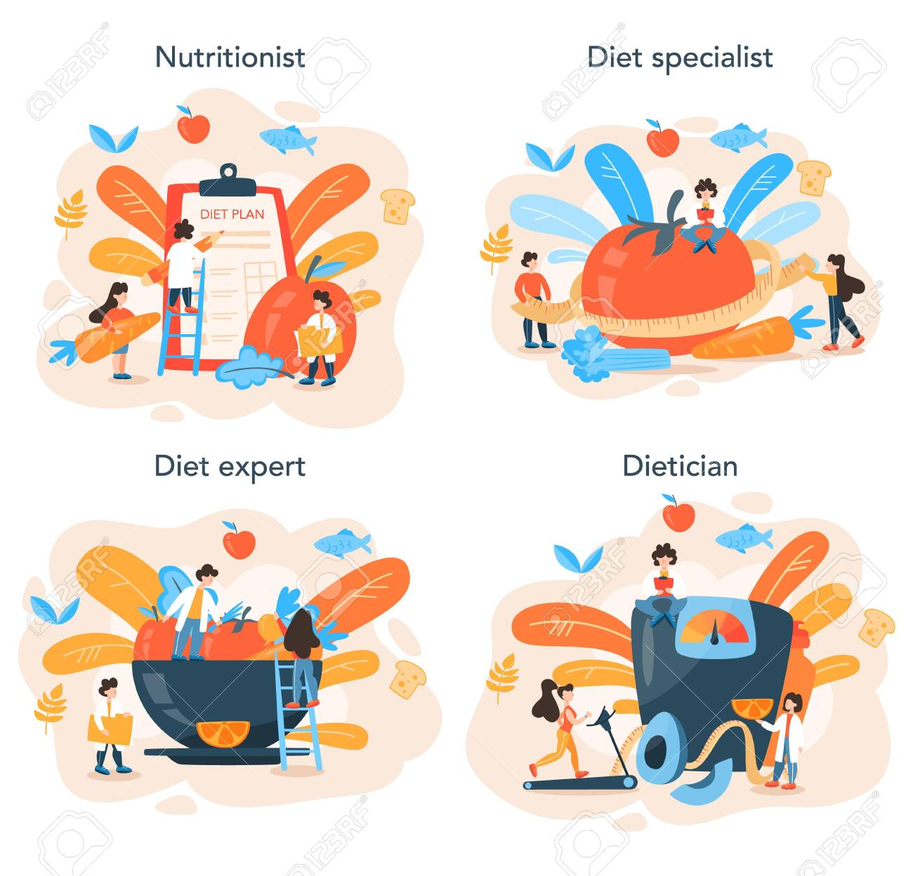 Nutritionist concept set. Diet plan with healthy food and physical activity - 153268596