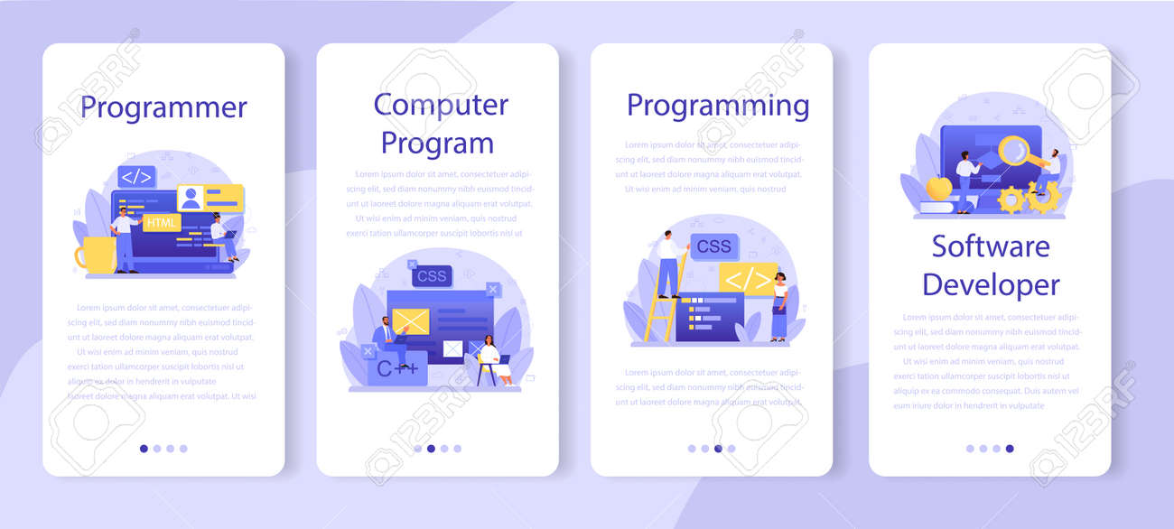 Programming mobile application banner set. Idea of working - 155327176