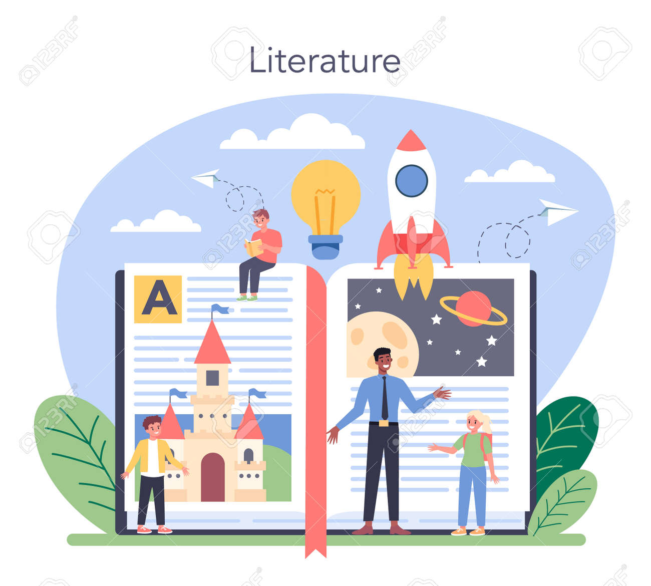 Literature school subject. Study ancient writer and modern - 156759731