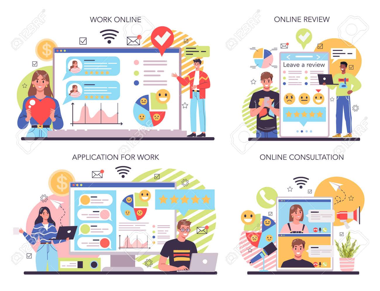 Company reputation online service or platform set. Building relationship - 164856881